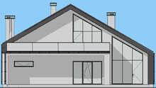 Схема современного коттеджа со встроенным гаражом площадью 208 кв. м
