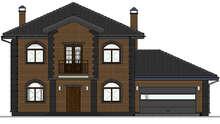 Проект двухэтажного дома с кирпичным фасадом общей площадью 204 кв.м.