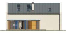 Проект дома с высокой мансардой, большими окнами в гостиной