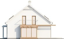 Проект дома с мансардой, стеклянным эркером и гаражом