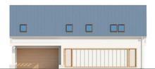Проект дома с двускатной кровлей и гаражом для двух авто