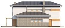 Проект двухэтажного коттеджа с боковым гаражом