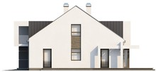 Проект современного дома с мансардой и удобным балконом