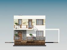 Красивый проект дома с гаражом и мансардой в классическом стиле