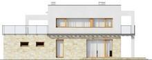 Проект двухэтажного современного коттеджа с террасой и гаражом