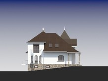 Проект небольшого поместья с цокольным этажом для участка с уклоном