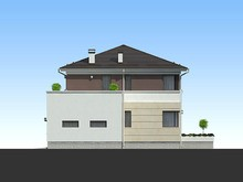 Проект современного дома с гаражом и террасой для 1 авто