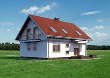 Проект мансардного дома с угловым эркером