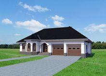 Красивый одноэтажный дом с интересным фасадом