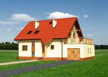 Масштабный загородный дом с гаражом и большим балконом-террасой