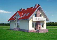 Стильный дом на два этажа с яркой крышей