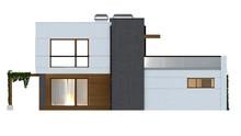 Проект современного коттеджа с террасой и гаражом для 2 авто