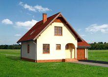 Оригинальный загородный коттедж с маленьким крыльцом и вместительным гаражом