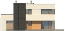 Проект двухэтажного модернистского коттеджа с гаражом и террасой