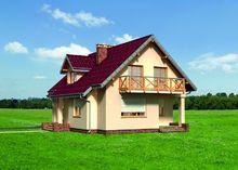 Оригинальный загородный дом с гаражом и большим балконом