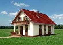 Архитектурный проект компактного коттеджа с деревянной верандой и балконом