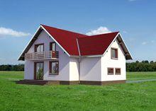 Проект симпатичного загородного дома с семью комнатами и гаражом