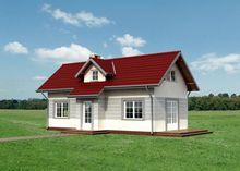 Небольшой дом с просторной гостиной и двумя спальнями