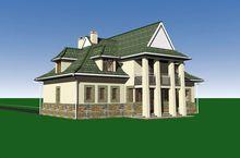 Симпатичный проект дома с крыльцом в виде башни