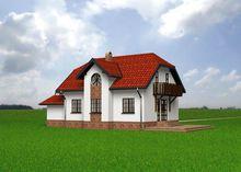 Проект интересного мансардного дома с пристроенным гаражом