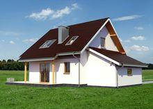 Мансардный дом с круглым эркером в кухонной зоне