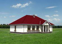 Одноэтажная усадьба с колоннами на крыльце