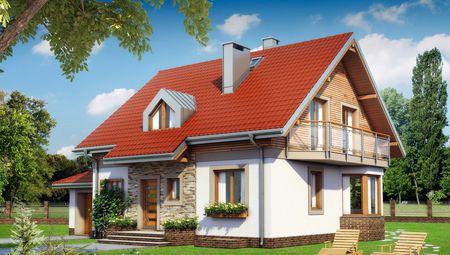 Стильный коттедж с оригинальными балконами, гаражом и мансардой