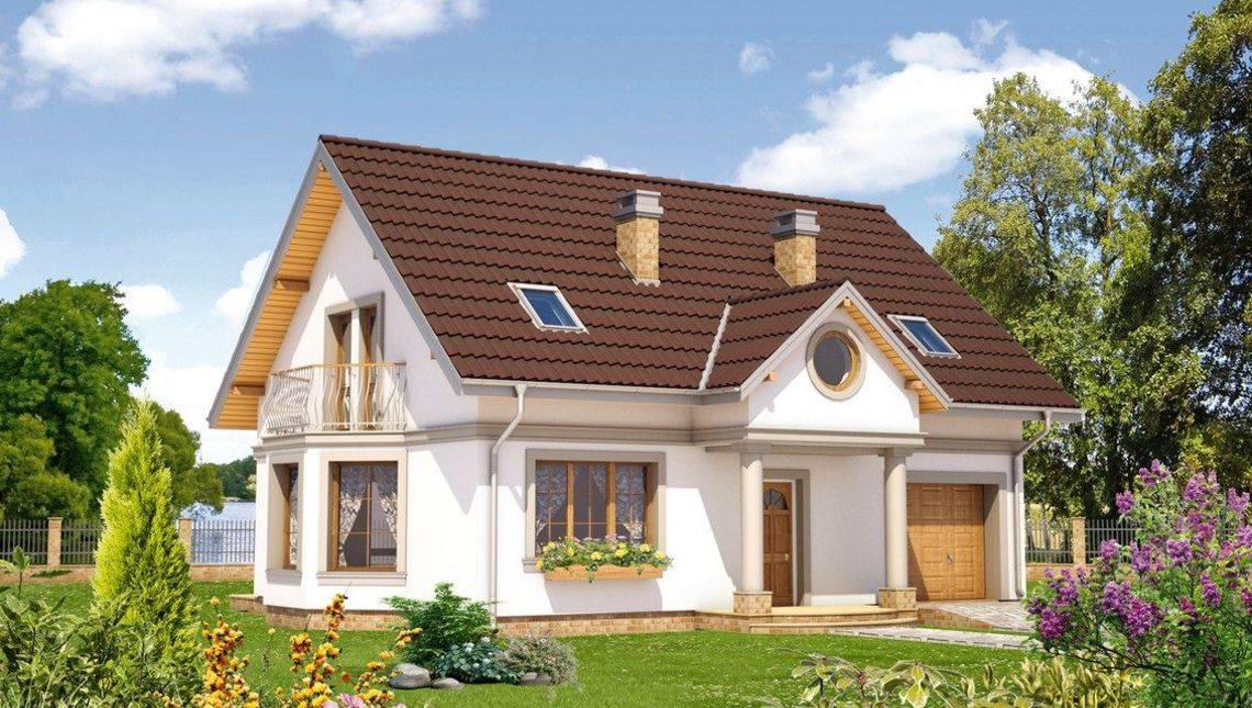 Архитектурный проект красивого загородного дома с эркером и террасой