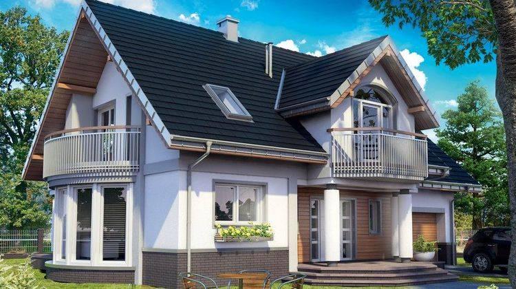 Архитектурный проект загородного дома с гостиной с эркером