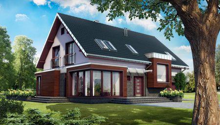 Мансардный дом с большим угловым панорамным окном