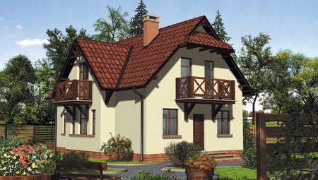 Роскошный двухэтажный коттедж с балконами и кровлей из натуральной черепицы