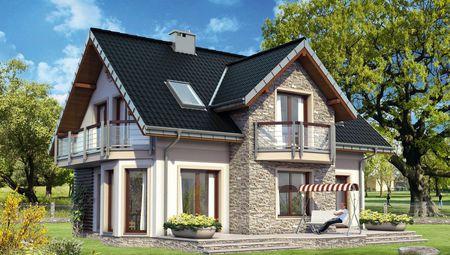 Традиционный проект дома с мансардой до 150 m²