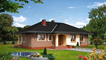 Одноэтажный жилой дом с тремя спальнями и кабинетом