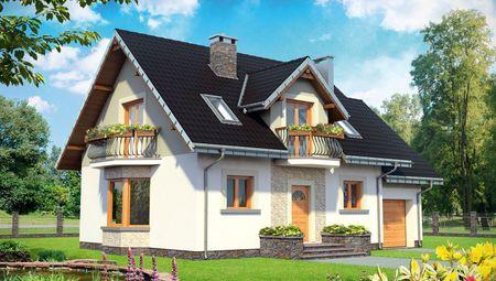 Проект для строительства симпатичного дома с гаражом на 1 авто и эркером