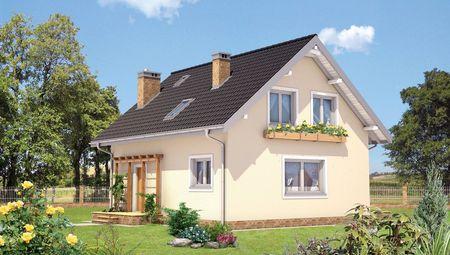 Светлый двухэтажный дом, традиционный для европейской архитектуры