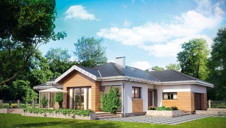 Красивый одноэтажный дом со встроенным гаражом для двух машин