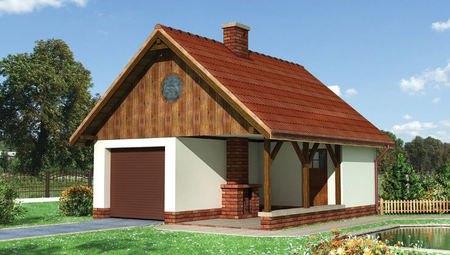Проект одноместного гаража с камином