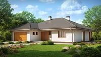 Проект уютного загородного коттеджа с мансардой и гаражом для 2 автомобилей