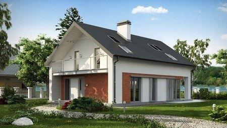 Проект практичного коттеджа с необычной мансардой и кирпичным фасадом