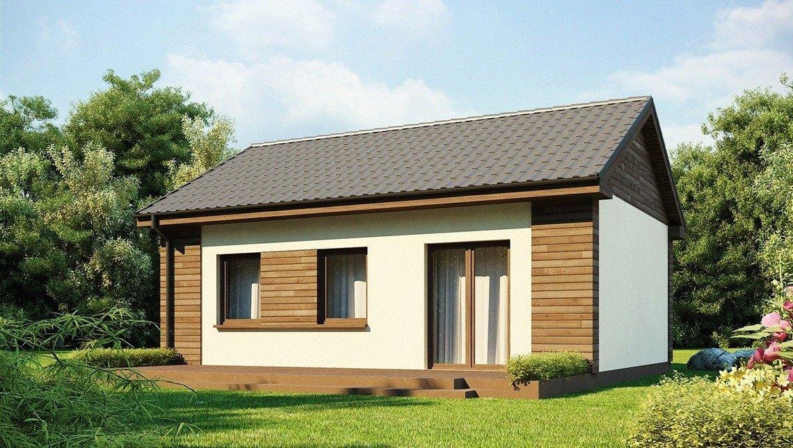 Проект небольшого одноэтажного экономичного дома с двускатной кровлей