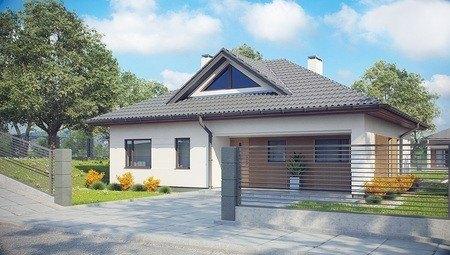 Проект одноэтажного коттеджа с оригинальным фасадом и четырехскатной крышей