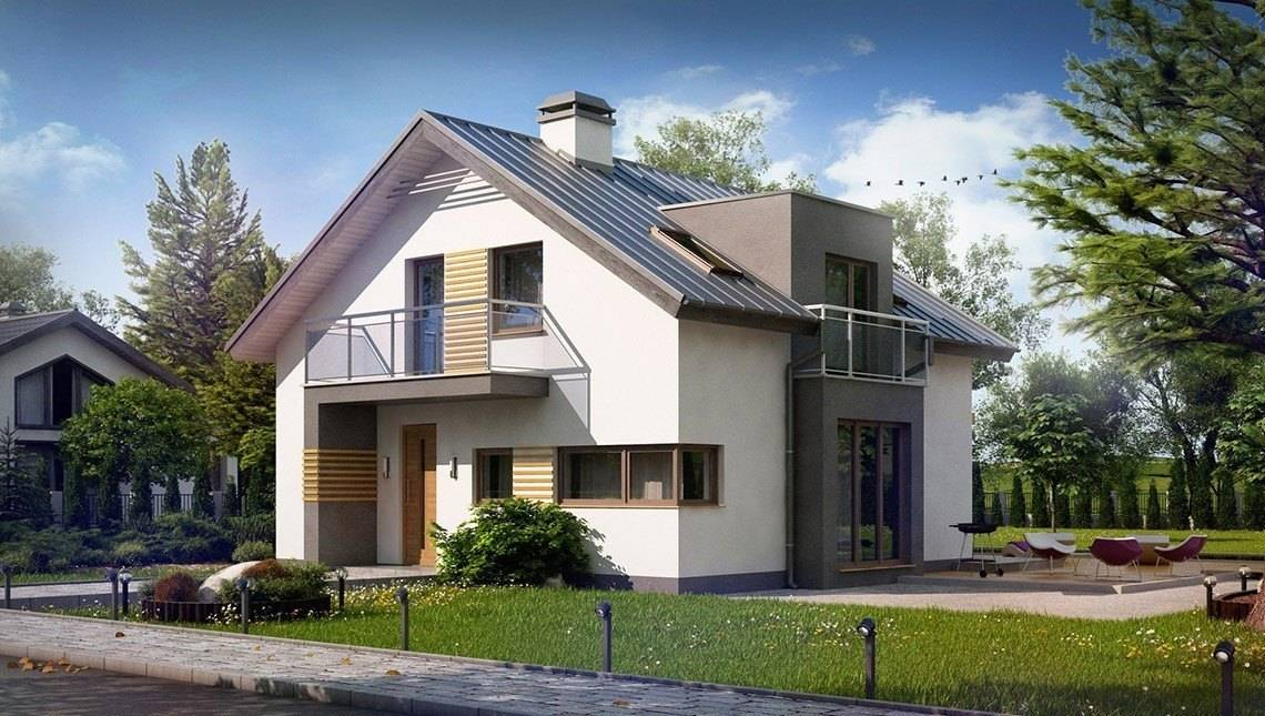 Проект современного стильного дома с эркером и необычным балконом