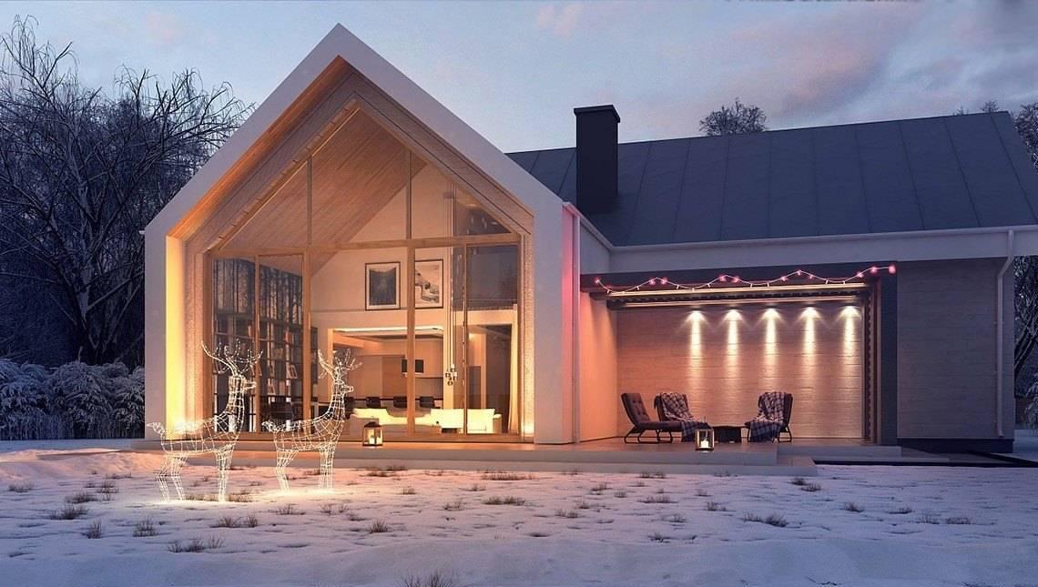 Небольшой двухэтажный коттедж с панорамным окном в гостиной