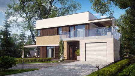 Двухэтажный коттедж с плоской крышей