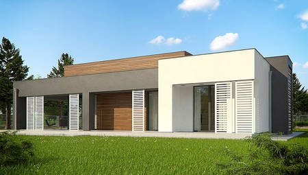 Одноэтажный модерновый дом для узкого участка