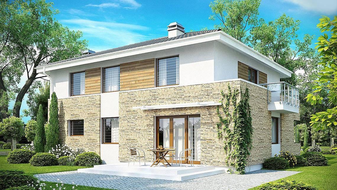 Стильный двухэтажный дом с пристроенным гаражом