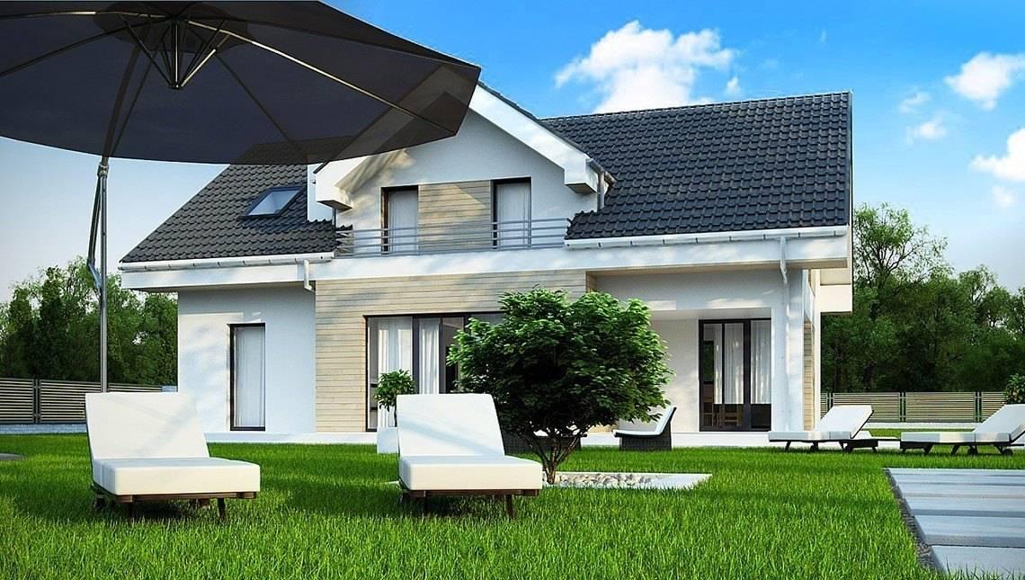 Проект дома с мансардой в строгом стиле
