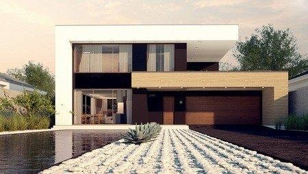 Загородный двухэтажный дом с плоской кровлей