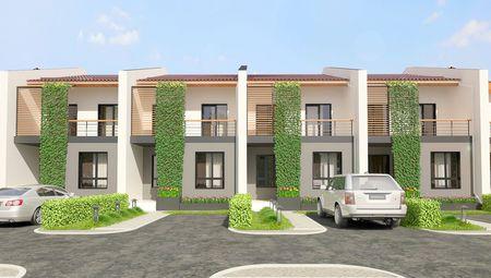 Проект двухэтажного коттеджа на шесть квартир