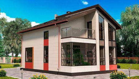 Проект уютного коттеджа с большими окнами